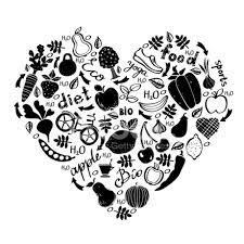 imagem de um coração em preto e branco com figuras dentro