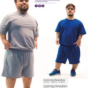 foto de duas pessoas com nanismo com camiseta e shorts de malha