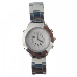 relógio branco com pulseira de metal