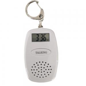 chaveiro branco com tela digital e alto falante, cabe em uma mão
