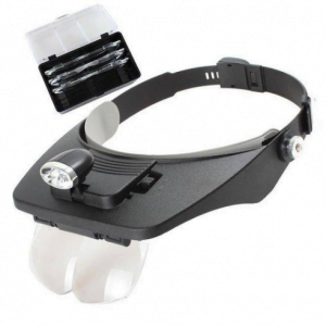 foto de lupa com suporte para cabeça com LED e 4 lentes, fundo branco
