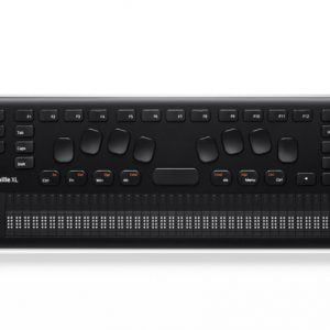 Linha Braille cor preta, com 44 botões de funções e 40 celas braille.