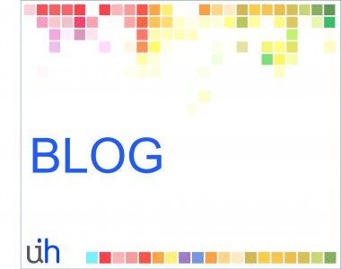 Tela com pixels coloridos na parte superioe e inferior, escrito BLOG meio e com o minilogo do UINHUB mostrando as letras U e H, na parte inferior esquerda - fundo branco