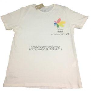 camiseta de algodão manga curta com logo da Talento Incluir e escrito #incluirparatransformar