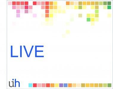 Tela com pixels coloridos na parte superioe e inferior, escrito LIVE meio e com o minilogo do UINHUB mostrando as letras U e H, na parte inferior esquerda - fundo branco