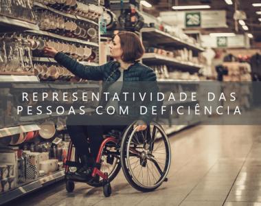 foto de mulher em cadeira de rodas em uma loja escolhendo uma caneca da plateleira com o escrito: REPRESENTATIVIDADE DAS PESSOAS COM DEFICIÊNCIA