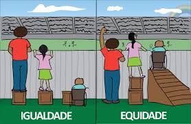 desenho mostrando a diferença entre igualdade e equidade