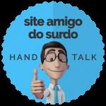 boneco da handtalk fazendo joia com a mão e escrito: site amigo do surdo