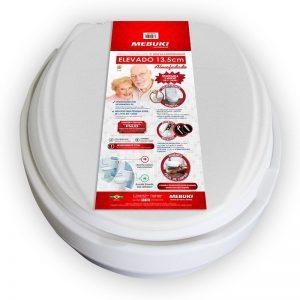 Assento sanitário oval elevado com tampa 13,5 cm almofadado - Mebuki