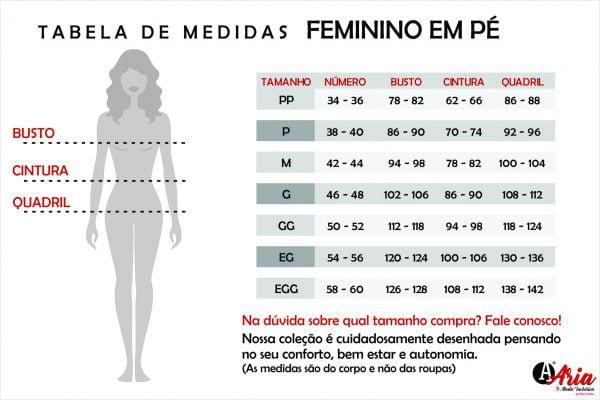 Tabela de Medidas ARIA Feminino Em Pé