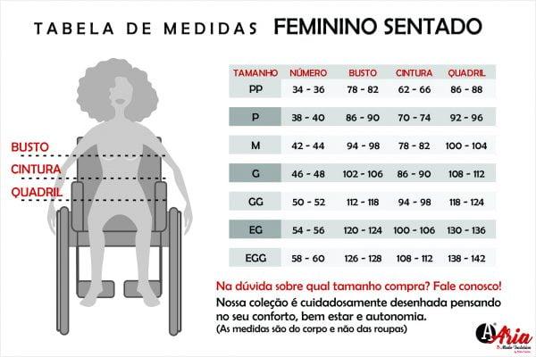 Tabela de Medidas ARIA Feminino Sentado