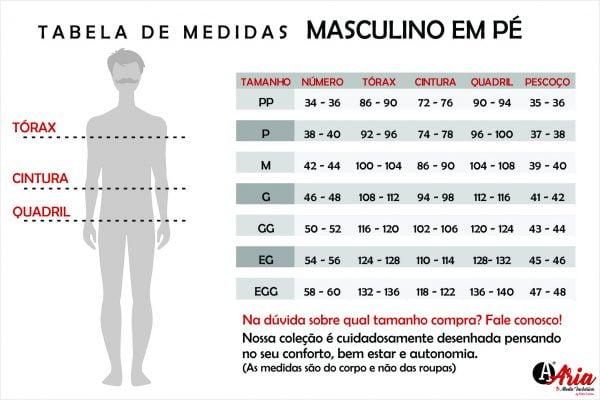 Tabela de Medidas ARIA Masculino Em Pé