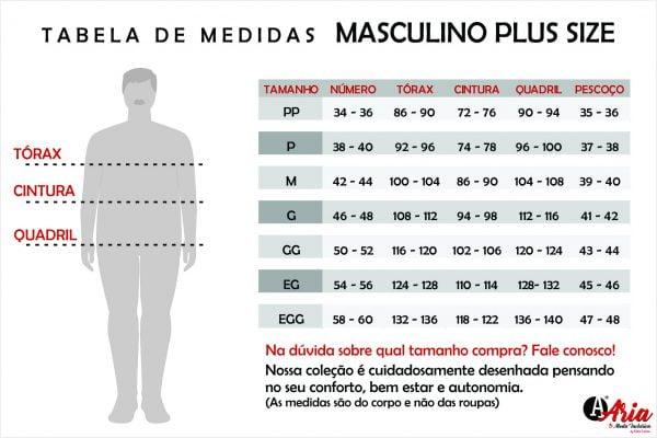 Tabela de Medidas ARIA Masculino Plus Size