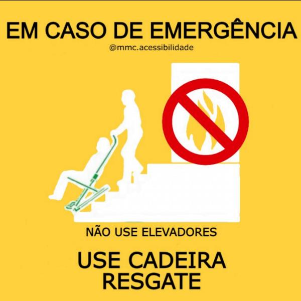 Sinalização para utilização em casos de emergências que exijam o uso da cadeira de emergência MMC